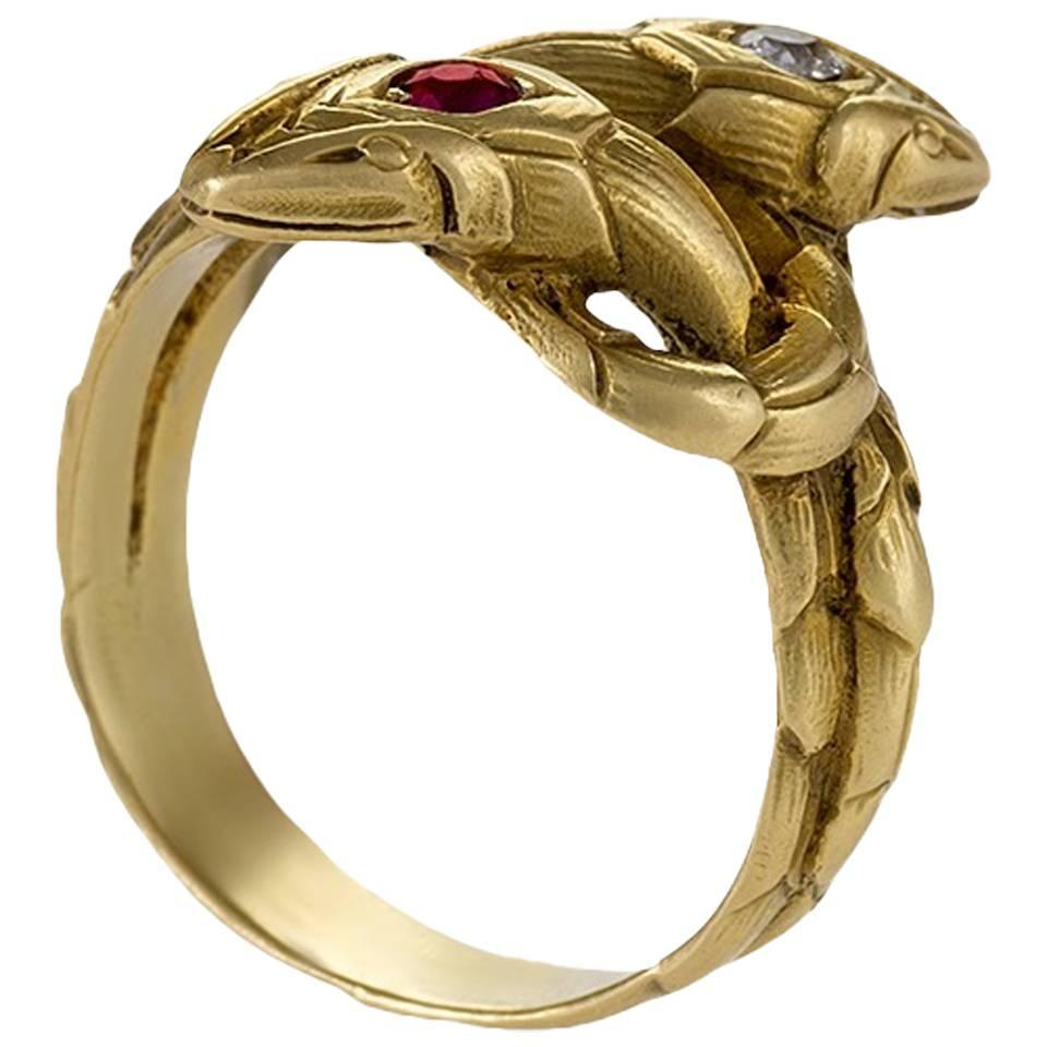 Antique french ruby diamond gold serpent ring at 1stdibs for The triumph of love jewelry 1530 1930