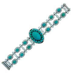 Greenleaf and Crosby Turquoise Diamond Gold Bracelet