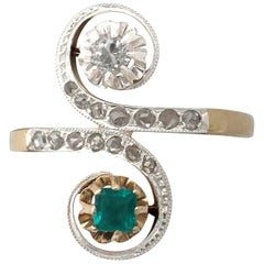 1920s Antique Emerald & Diamond Yellow & White Gold Set Cocktail Ring