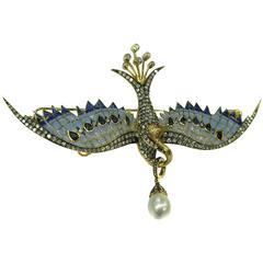 Plique-a-Jour Bird Brooch by Prince Diamond