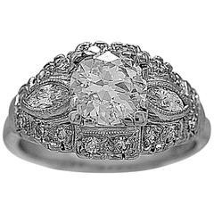 Art Deco .90 Carat Diamond Platinum Engagement Ring