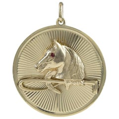 Large Ruby Gold Horse and Crop Charm