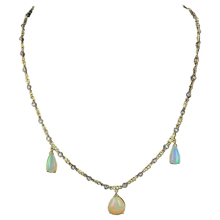 Baume 5.87 Carats Opal Diamond Gold Necklace  For Sale