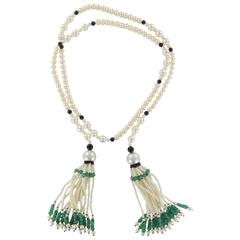 Baume Long Onyx Pearl Emerald Necklace