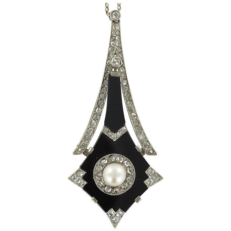French Art Deco Fine Pearl Onyx Diamond Platinum Pendant  1