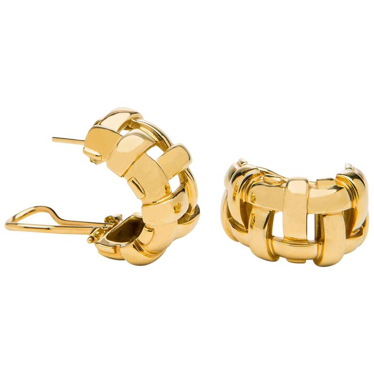 Gold Basket Weave Hoop Earrings For