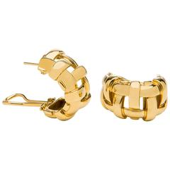 Tiffany & Co. Gold Basket Weave Hoop Earrings