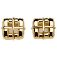 Tiffany & Co. Gold Square Buckle Motif Earrings