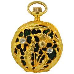 Tiffany & Co. Lady's Yellow Gold Diamond Enamel Art Nouveau Pendant Watch