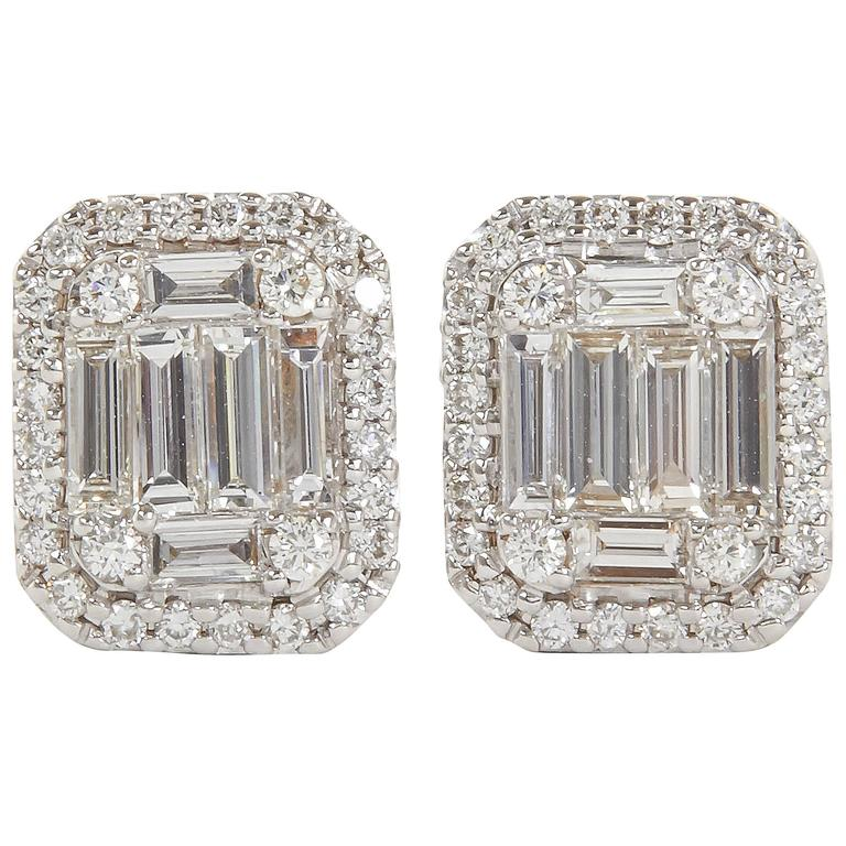 emerald cut stud earrings illusion emerald cut gold stud earrings for sale 7364
