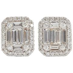 Illusion Emerald Cut Diamond Gold Stud Earrings
