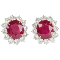 GIA Cert Rubies Diamond Gold Earrings