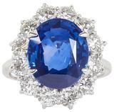 Stunning 6 Carat GIA Certified Sapphire Diamond Platinum Ring