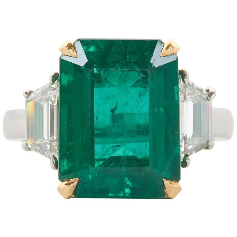 Vivid GIA Certified Emerald Diamond Gold Platinum Ring