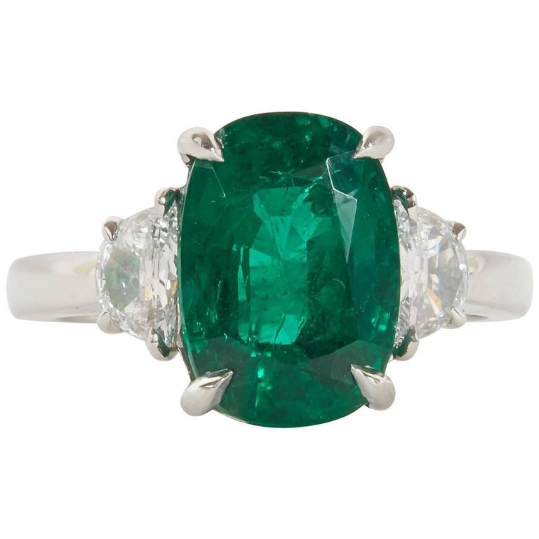 Fine 4.21 Carat GIA Cert Minor Oil Emerald Diamond Platinum Ring