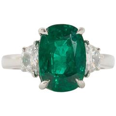 Fine 4.21 Carat GIA Cert Minor Oil Emerald Diamond Platinum Ring