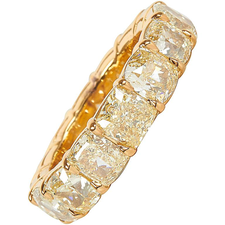 10 Carat Fancy Yellow Cushion Cut Diamond Gold Eternity Band Ring