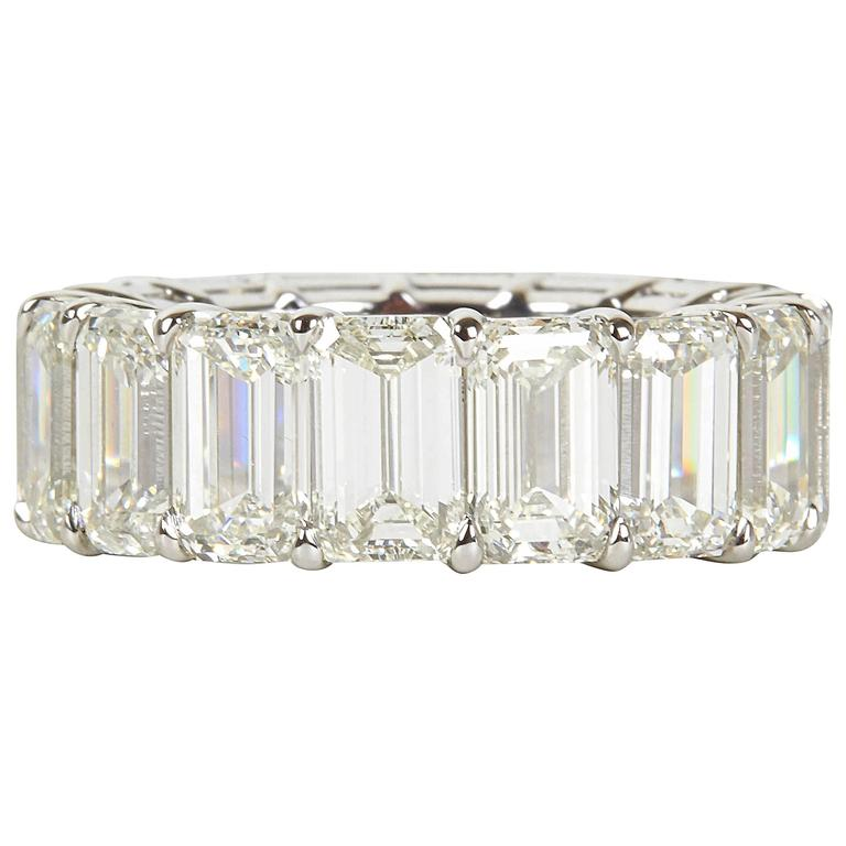 Incredible Carat Size Emerald Cut Diamond Platinum Eternity Band Ring