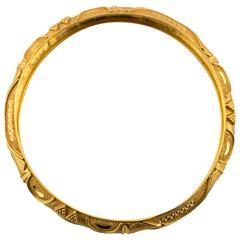 Gold Engraved Bangle Bracelet