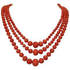 Past Era Sardinian Coral Graduated Triple Strand Necklace
