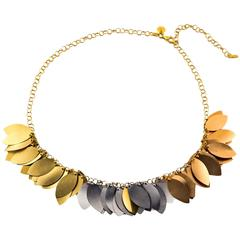 Italian Three Color Gold Leaf Necklace