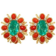 Merry and Bright Tony Duquette Coral Diamond Gold Earclips
