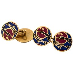 French 18 Karat Yellow Gold Cufflinks with Enamel Cranes in Blue, Black and Red