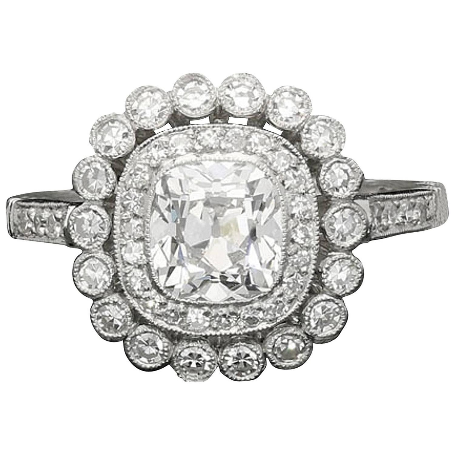 Large Double Ring Chandelier At 1stdibs: Old Mine Cushion Cut Diamond Double Cluster Ring By