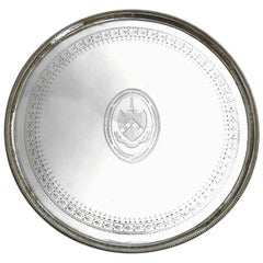 English 18th Century Bright-Cut Sterling Silver Salver by Hester Bateman