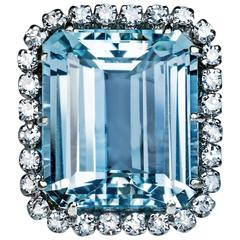 12.55 Carat Aquamarine Diamond Cluster Ring
