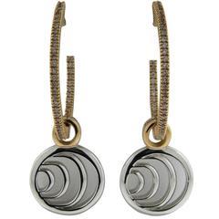 Damiani Gold Inside Out Diamond Hoop Drop Earrings