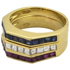 Sapphire Ruby Diamond Gold Stackable Band Rings