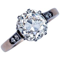 Antique 2.76 Carat Cushion Cut Diamond Engagement Ring