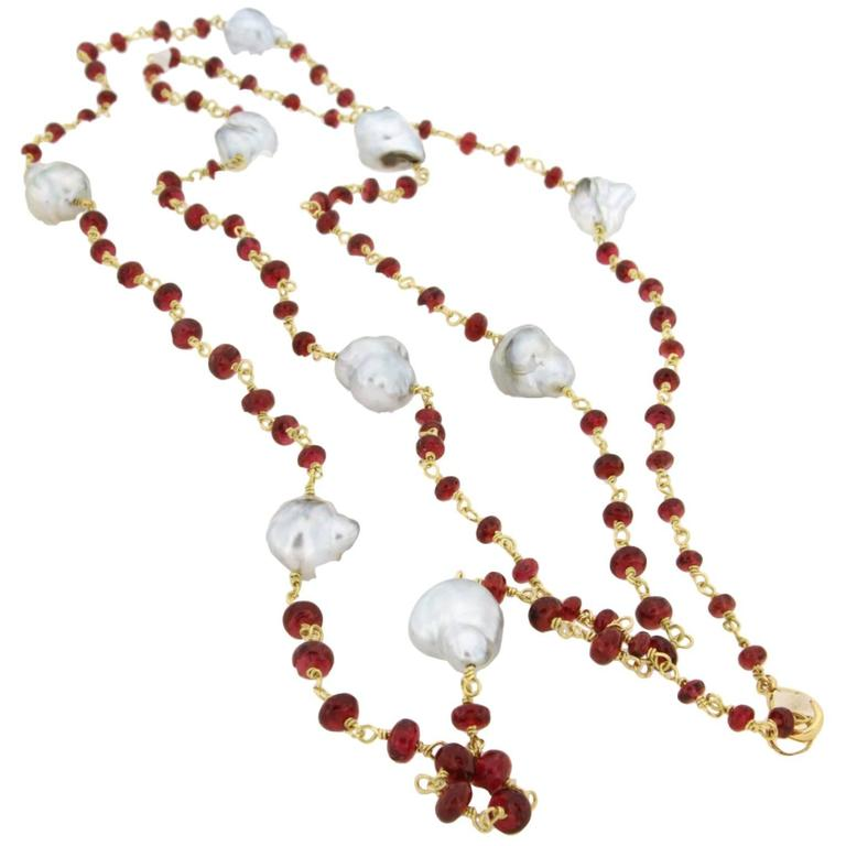 Jona Burmese Red Spinel Baroque South Sea Pearl 18k Yellow Gold Long Necklace