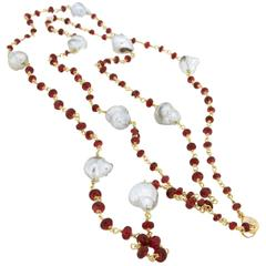 Jona Red Spinels Pearl Gold Long Necklace