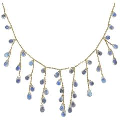 Jona Burmese Moonstone Drops 18k Yellow Gold Necklace