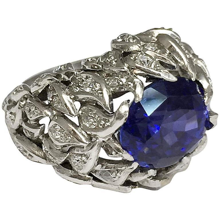 Verdura 9 Carat Burmese Sapphire Diamond Platinum Ring For Sale