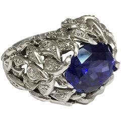 Verdura 9 Carat Burmese Sapphire Diamond Platinum Ring