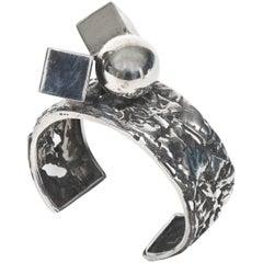 Modernist Brutalist Design Sterling Silver Cuff Bracelet by Rachel Gera