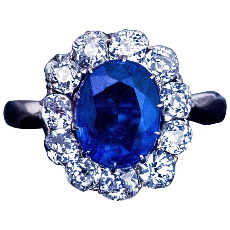 Antique Diamond Kyanite Gold Engagement Ring