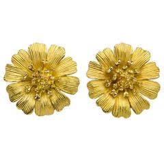 Tiffany & Co.  Textured Gold Flower Earrings