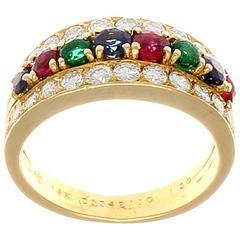 Van Cleef & Arpels Emerald Ruby Sapphire Diamond Gold Ring