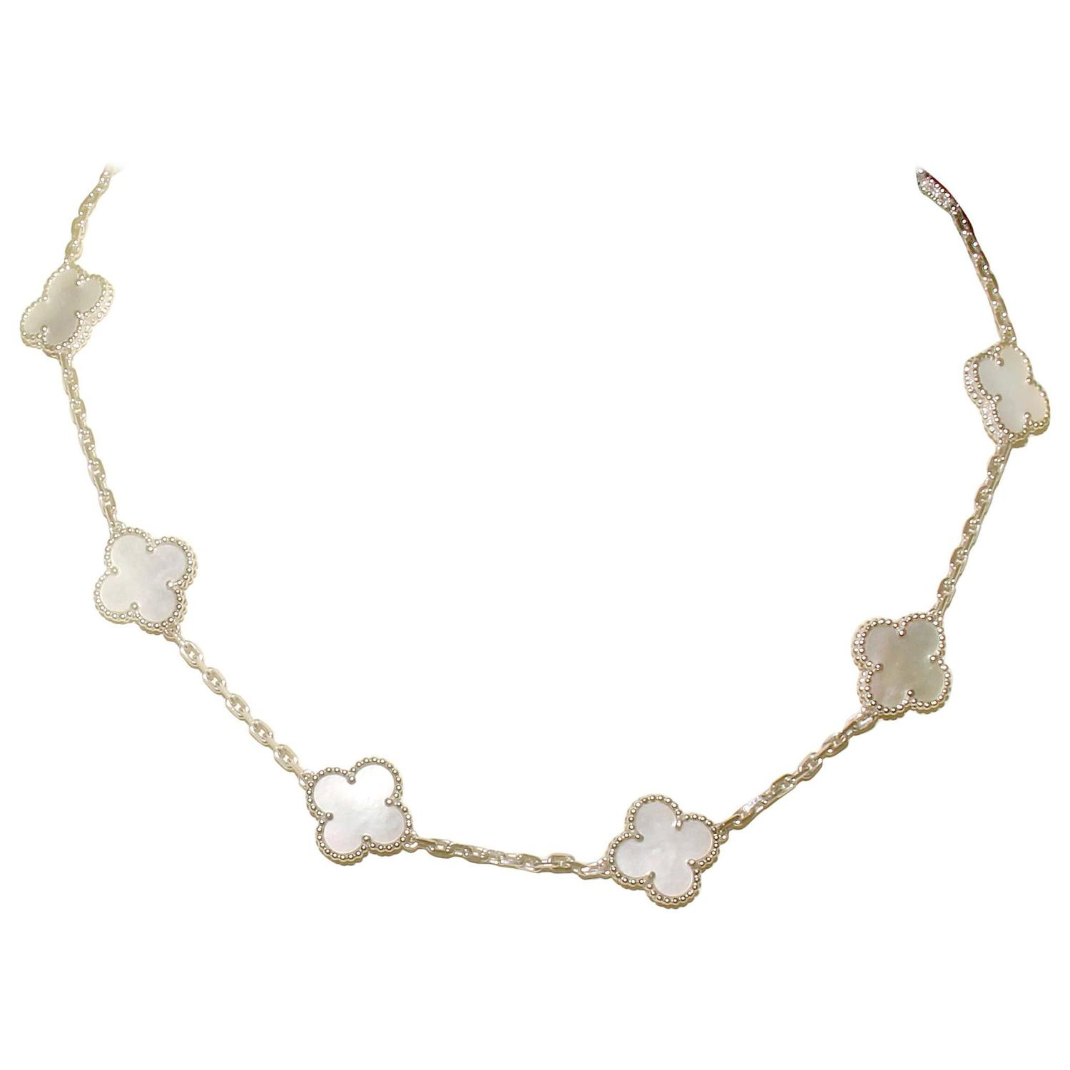Van Cleef And Arpels Mother Of Pearl Necklace: Van Cleef And Arpels Mother Of Pearl 10 Motif Vintage
