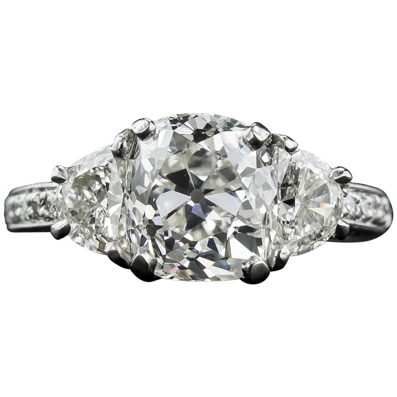 3 03 Carat GIA Cert Antique Cushion Diamond Platinum Engagement Ring For Sale