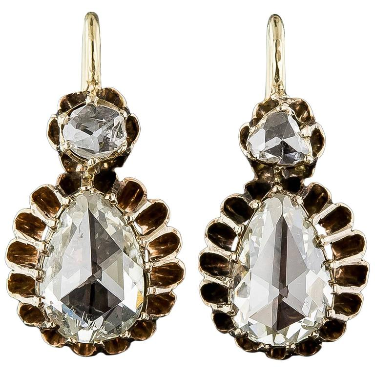 Victorian Pear Shape Rose Cut Diamond Gold Drop Earrings