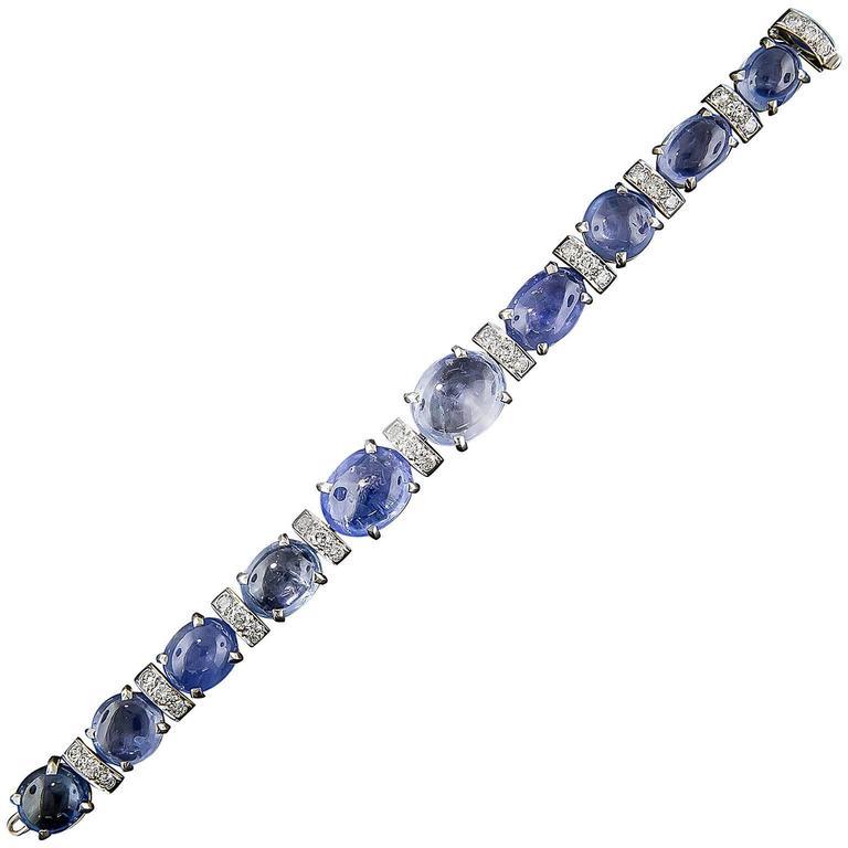 Seaman Schepps No-Heat Cabochon Sapphire Diamond Platinum Bracelet