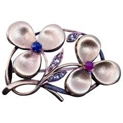 Antique Art Nouveau Ruby Sapphire Diamond Gold Clover Brooch