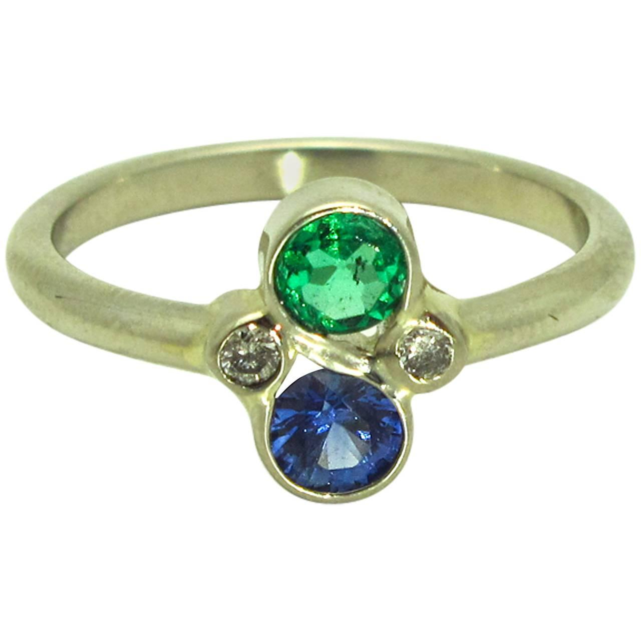 blue sapphire emerald gold ring at 1stdibs