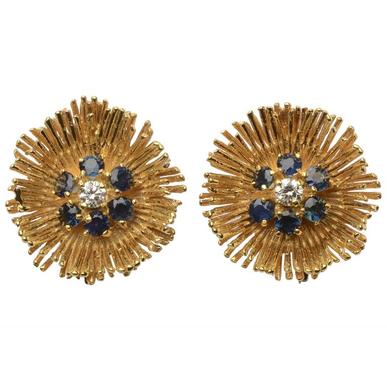 Tiffany Sapphire Diamond Gold Earrings