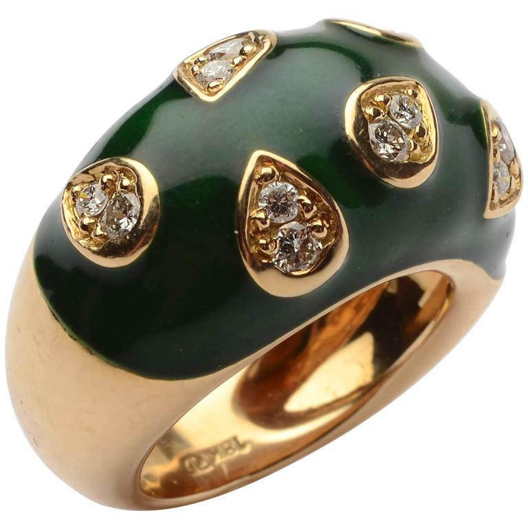 1960s Enamel Diamond Gold Dome Ring